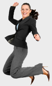 Female lawyer jumping for joy